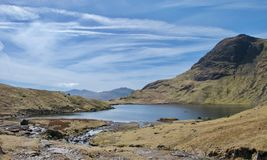 Mountain tarn and cliff on sunny day stock images