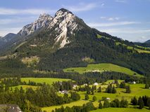 Mountain in Tauplitz. Summer landscape in the austrian alps with blue sky Stock Photo