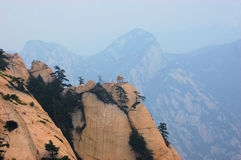Mountain Temple in China. Mountain Temple on sacred Mt. Hua Shan in China Royalty Free Stock Images