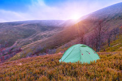 Mountain, tent, autumn Royalty Free Stock Photos