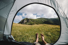 Mountain tent legs Stock Photo