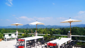 Mountain terrace. On top with beautiful panorama in thai Stock Images