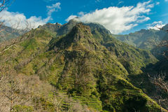 Mountain terrace view (landscape). View from a break stop on the mountain road, Serra De Agua, Madeira, Portugal stock photos