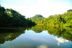 Mountain in Thailand. Shadow Mountain reflection in the river Royalty Free Stock Photography