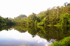 Mountain in Thailand. Shadow Mountain reflection in the river Royalty Free Stock Image
