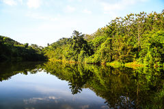 Mountain in Thailand. Shadow Mountain reflection in the river Stock Images