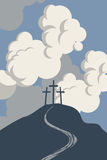 Mountain with three crosses Stock Photo