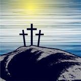 Mountain with three crosses. Vector illustration with mountain with three crosses Royalty Free Stock Photos