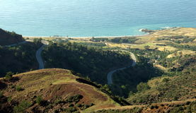From the mountain to the sea. Lookin down at the sea of Pomos, Cyprus Stock Image