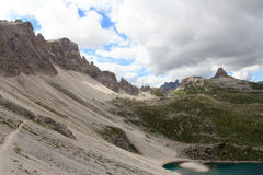 Mountain Toblinger Knoten and footpath panorama in Sexten Dolomites, South Tyrol Royalty Free Stock Photography