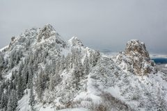 Mountain top covered with snow Royalty Free Stock Photo
