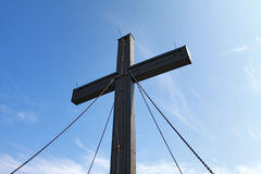 Mountain Top Cross. A wooden cross on top of a hill Stock Photo