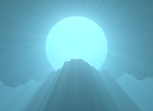 Mountain top full moon light flare Stock Images