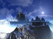Mountain Top Futuristic Alien City Stock Photos