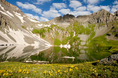 Mountain top lake with water reflections. stock photography