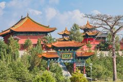 Mountain top monastery. Close up of the North Peak Temple entrance on top of Mt. Heng Royalty Free Stock Images
