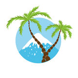 Mountain top and palm tree, vector logo Royalty Free Stock Photos