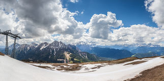 Mountain top panorama on the Kronplatz Royalty Free Stock Photography