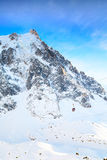 The mountain top station of the Aiguille du Midi in Chamonix and cable car Stock Photography