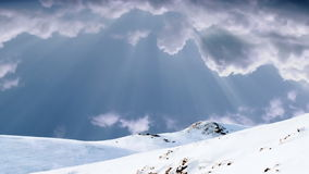 Mountain top and stormy time lapse clouds, stock footage. Video royalty free illustration