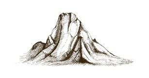 Mountain top or summit hand drawn with contour lines on white background. Elegant vintage drawing of rocky cliff or. Mount. Monochrome vector illustration in vector illustration