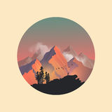 Mountain Top Sunset. Mountain range peaks catching the evening sunlight. Vector illustration Royalty Free Stock Images