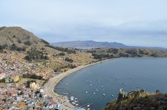 Mountain top view of Lake Titicaca, Copacabana stock photo