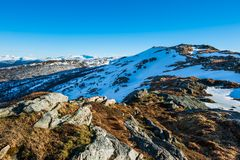 Mountain top. View from one of the seven mountains surrounding Bergen city in Norway Stock Photo