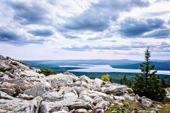Mountain top view valley lake Zuratkul Chelyabinsk Russia. Royalty Free Stock Photography