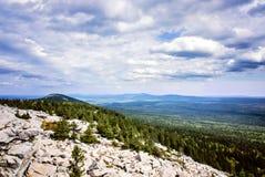 Mountain top view valley lake Zuratkul Chelyabinsk Russia. Royalty Free Stock Image