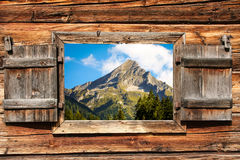 Mountain top through window Stock Photography