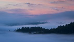 Beautiful sunrise above the mist at Yun Lai Viewpoint, Pai Thail Royalty Free Stock Image