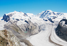 Mountain tops and glaciers Royalty Free Stock Photos