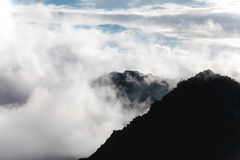 Mountain tops peak out of the clouds near Machu Picchu - Peru Royalty Free Stock Image