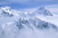 Mountain tops in St. Elias National Park and Preserve, Wrangell Mountains, Wrangell, Alaska royalty free stock photo