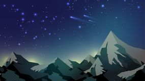 Mountain Tops on Starry Night Sky Background - Vector Illustrati. On Stock Photos