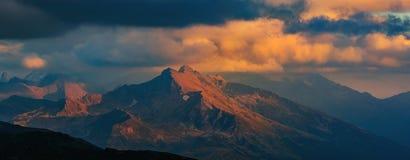 Mountain tops at sunset. Mount Zakzan-Syrt. Caucasus mountains. Stock Photo