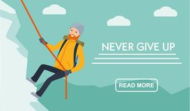 Free Mountain Tourism Banner.. Climber Climbs The Mountain. Never Give Up. Flat Cartoon Illustration Vector Set. Active Sport Royalty Free Stock Images - 131156899