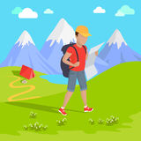 Mountain Tourism Concept. Man traveler with backpack hiking equipment walking in mountains. Mountain tourism concept in cartoon design style. Vector illustration Royalty Free Stock Image
