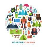 Mountain tourism icons flat Royalty Free Stock Photography