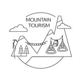 Mountain tourism outline background. Minimalistic Stock Images