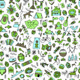 Mountain tourism set, seamless pattern for your design Royalty Free Stock Photography