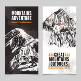 Mountain tourism 2 vertical banners Royalty Free Stock Photo