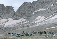 Mountain tourist camp near the South Belag Pass, Caucasus Royalty Free Stock Photography