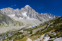 Mountain touristic path in Alps Stock Photo