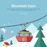 Mountain Tours Concept Banner. Funicular Railway, Stock Photography