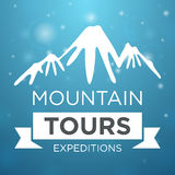 Mountain tours expedition on blue background Stock Images