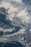 Mountain Town in the Alps, Aerial photo Royalty Free Stock Photography