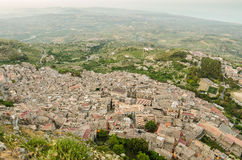 Mountain town Caltabellotta (Sicily, Italy) in the Royalty Free Stock Photos