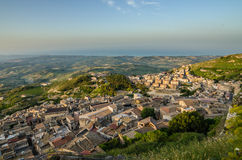 Mountain town Caltabellotta (Sicily, Italy) in the Royalty Free Stock Image